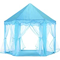 Kids Play Tent Hexagon DIY Princess Castle Play House Indoor Outdoor with Star Lights - Blue