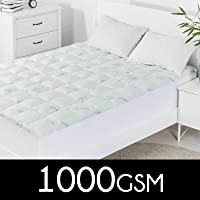 Dreamaker Bedding 1000 GSM Bamboo Covered Memory Resistant Ball Fiber Mattress Topper - Covered Underlay Protector - Fully Fitted - All Sizes - All Season - Hypo Allergenic - Breathable - Dust mite Resistant - Anti Bacterial(Cot Boori)
