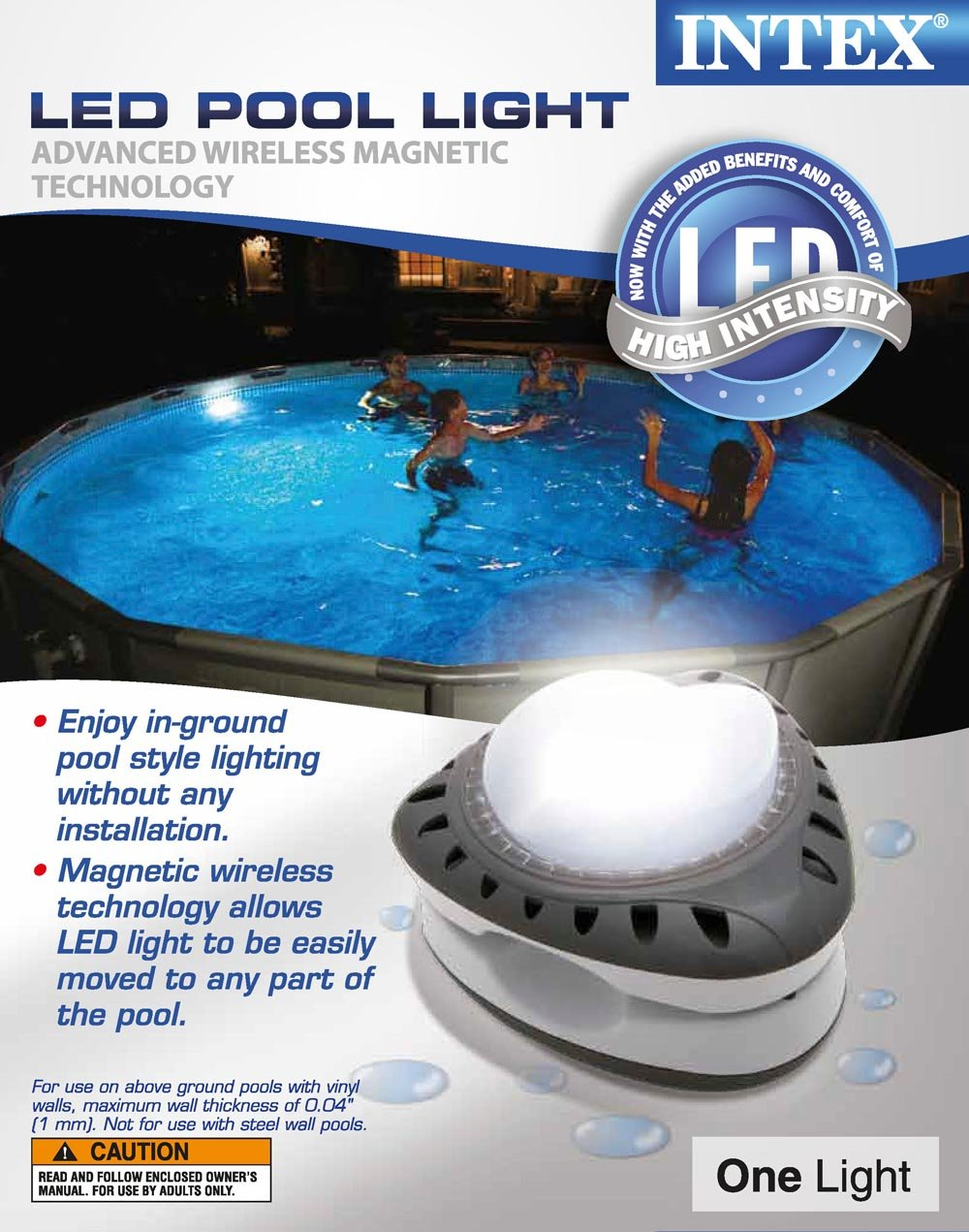 Intex Above Ground Energy Efficient LED Magnetic Pool Light (2 Pack) | 28687E by Intex