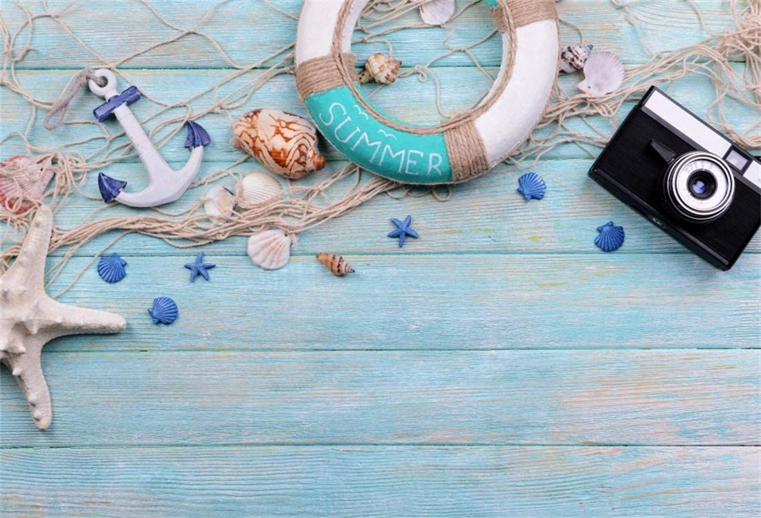 Yeele 6x4ft Navigation Photography Background Camera Fishing Net Lifebuoy Shell Conch Starfish Model Ocean Sea Blue Wooden Summer Party Photo Backdrops Portrait Shooting Studio Props Wallpaper