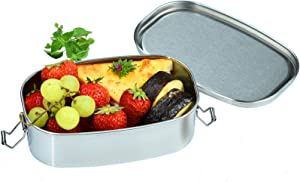 Stainless Steel Bento Box, Metal Lunch Box Containers with Lock Clips, 304 Stainless Steel Snack Food Containers Metal Bento Box for Kids & Adults, Dishwasher Safe, 550 ml/18.6 oz