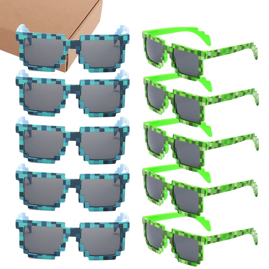 kilofly 10pc 8-Bit Pixel UV Protect Gamer Sunglasses Adult Kids Party Favors KTG346pc10