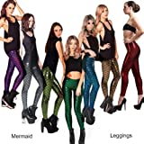 7e846bfee9968a HX fashion Damen Mermaid Fish Scale Hologramm Stretch Weiche Classic Glanz Leggings  Meerjungfrau Leggings Fischschuppen Pailletten