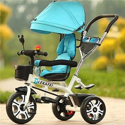 Multi-usage 4-en-1 Enfant Tricycle Version Sport Kid Trolley Poignée Poignée Stoller Vélo avec Auvent Anti-UV et Poignée Parent | pour 1-3-6 ans Garçon et Fille Bébé | Si&egrav