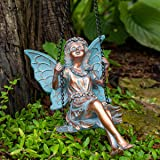 BRECK'S Swinging Fairy Statue - Bring Your Garden to Life as This Playful Sprite Swings in The Breeze!