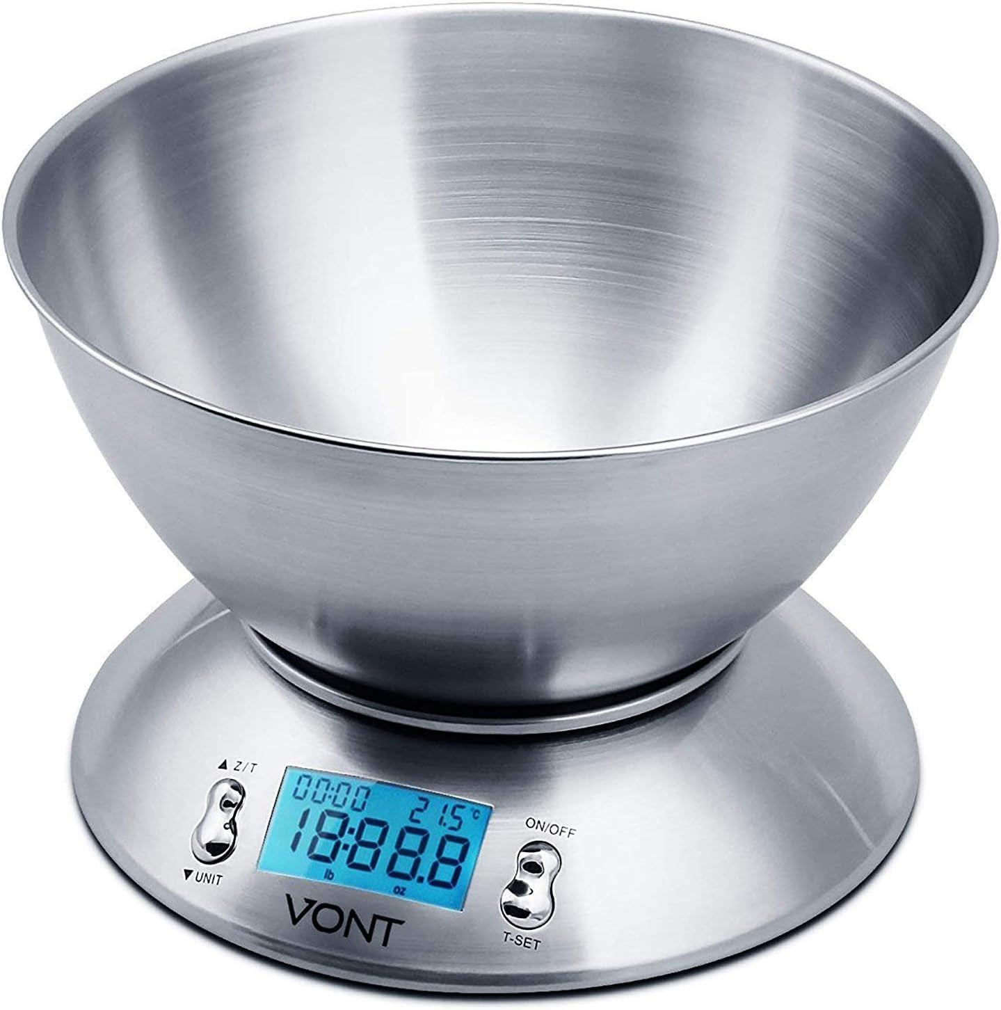 Vont Digital Kitchen Scale / Food Scale, Detachable Bowl Design, Gorgeous Stainless Steel Design with Alarm Timer & Temperature Sensor