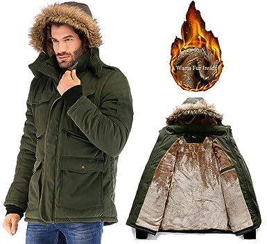 6119a16d7 Amazon.com  Yozai Mens Winter Military Warm Jacket Fleece Coat with ...