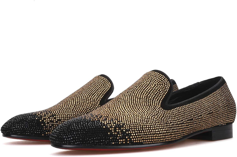 Merlutti WOMEN Black Gold Rhinestones Loafers