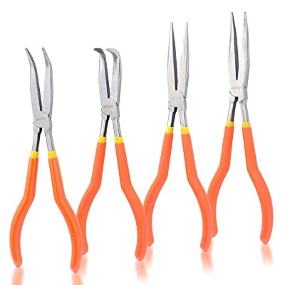 "Neiko 02105A 11"" Long Nose Plier Kit with Soft Grip, 4 Piece - Locking Jaw Pliers - .com"