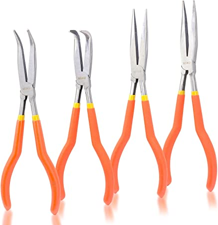 """5PC 11/"""" LONG NOSE PLIERS SET HAND TOOLS NEEDLE NOSE PLIERS W// POUCH AUTO HD NEW"""