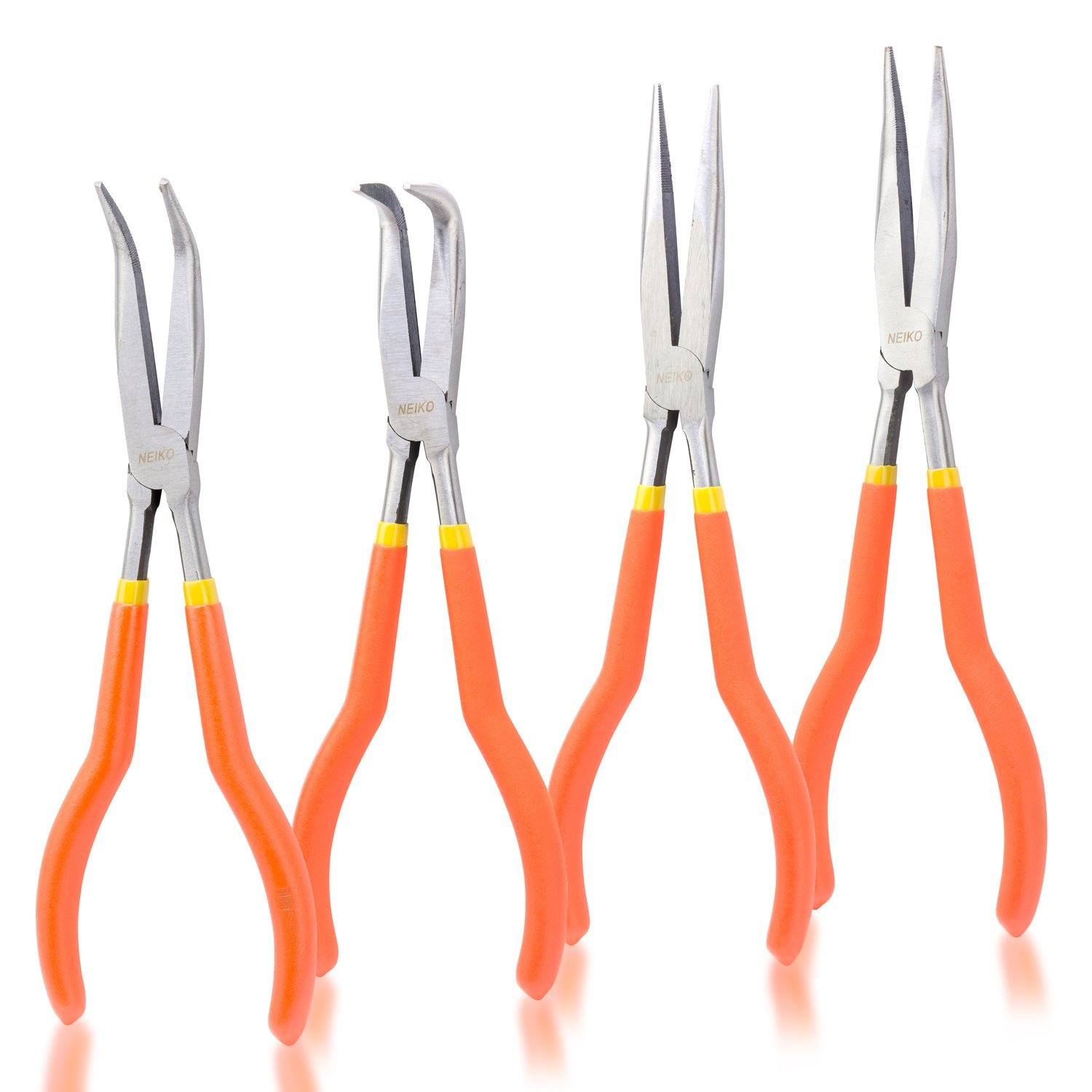 Neiko 02105A 11'' Long Nose Plier Kit with Soft Grip, 4 Piece