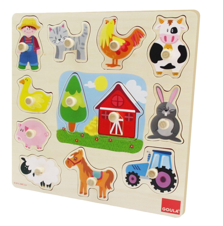 Holzpuzzle Silhouetten Bauernhof 12-teilig Jumbo Spiele Goula D53025