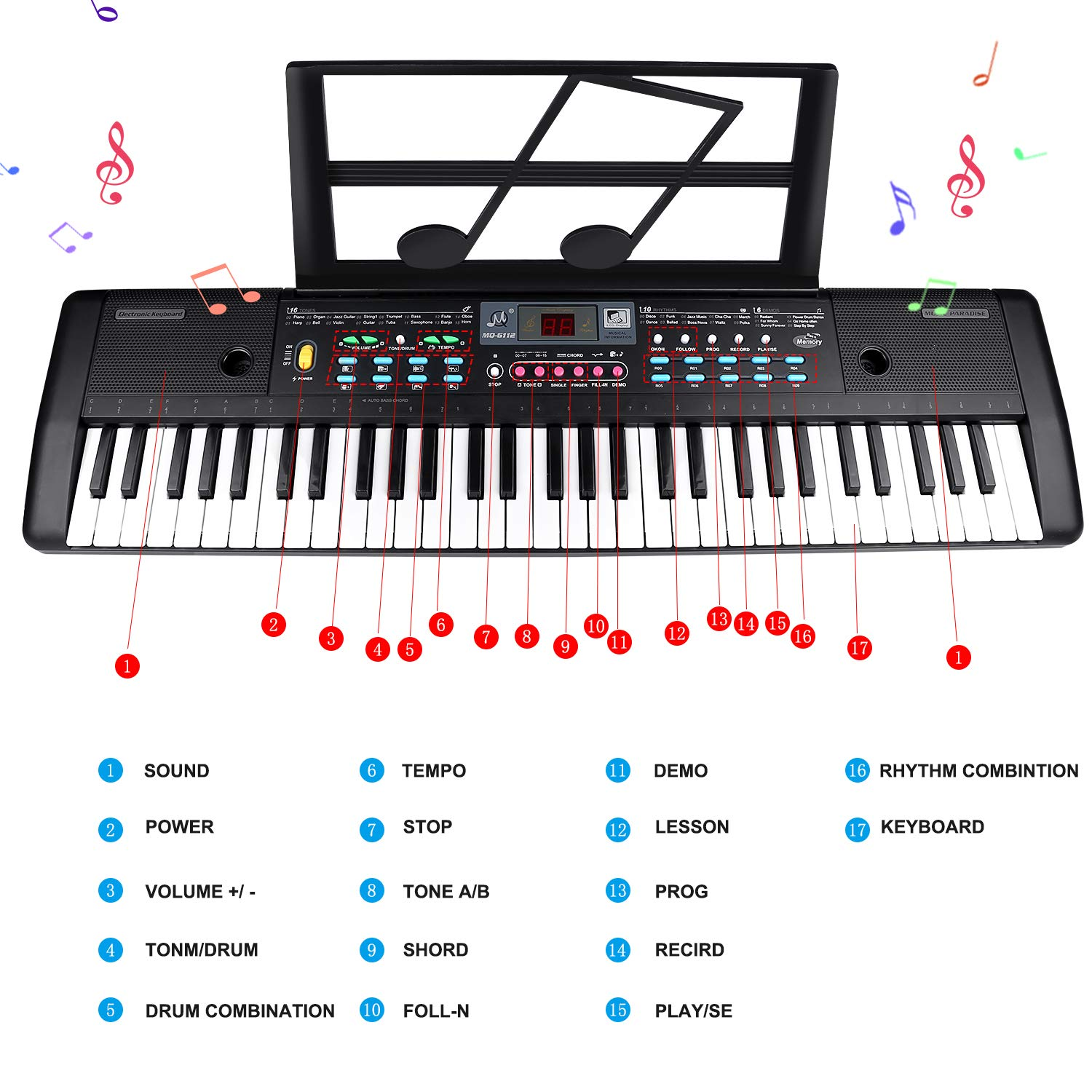 ZJTL 61-Key Digital Electric Piano Keyboard & Music Stand & microphone- Portable Electronic Keyboard (Kids & Adults) MQ-6112 by ZJTL (Image #2)