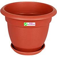 """Easy Gardening 12"""" Elegance Gardening Planters and Trays - Terracotta Color Pots"""