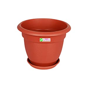 Easy Gardening 12 Elegance Gardening Planters and Trays - Terracotta Color Pots (6)