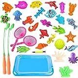 Angelspielzeug Fishing Toy, Baby Badespielzeug 30 Stück Magnetic Double Fishing Game, Angeln lernen Bildung spielen Set Outdoor Fun Angeln Spiel beste Geschenk für Kinder