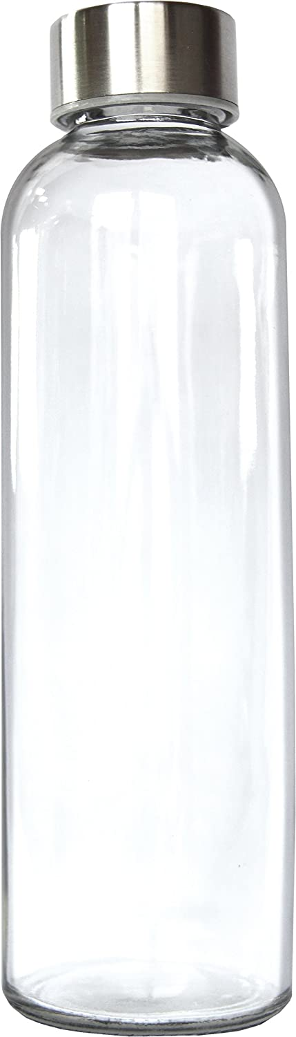 Oversized Pint, 18 oz. Glass Bottle with Stainless Steel Screw On Cap (1, pint)