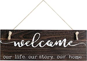 WELLAND Rustic Hanging Welcome Sign Wall Decor for Living Room/Bedroom/Kitchen, 16.5