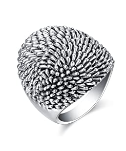 Mytys Vintage Silver Dome Statement Ring Fashion Rings for Women's Band Rings
