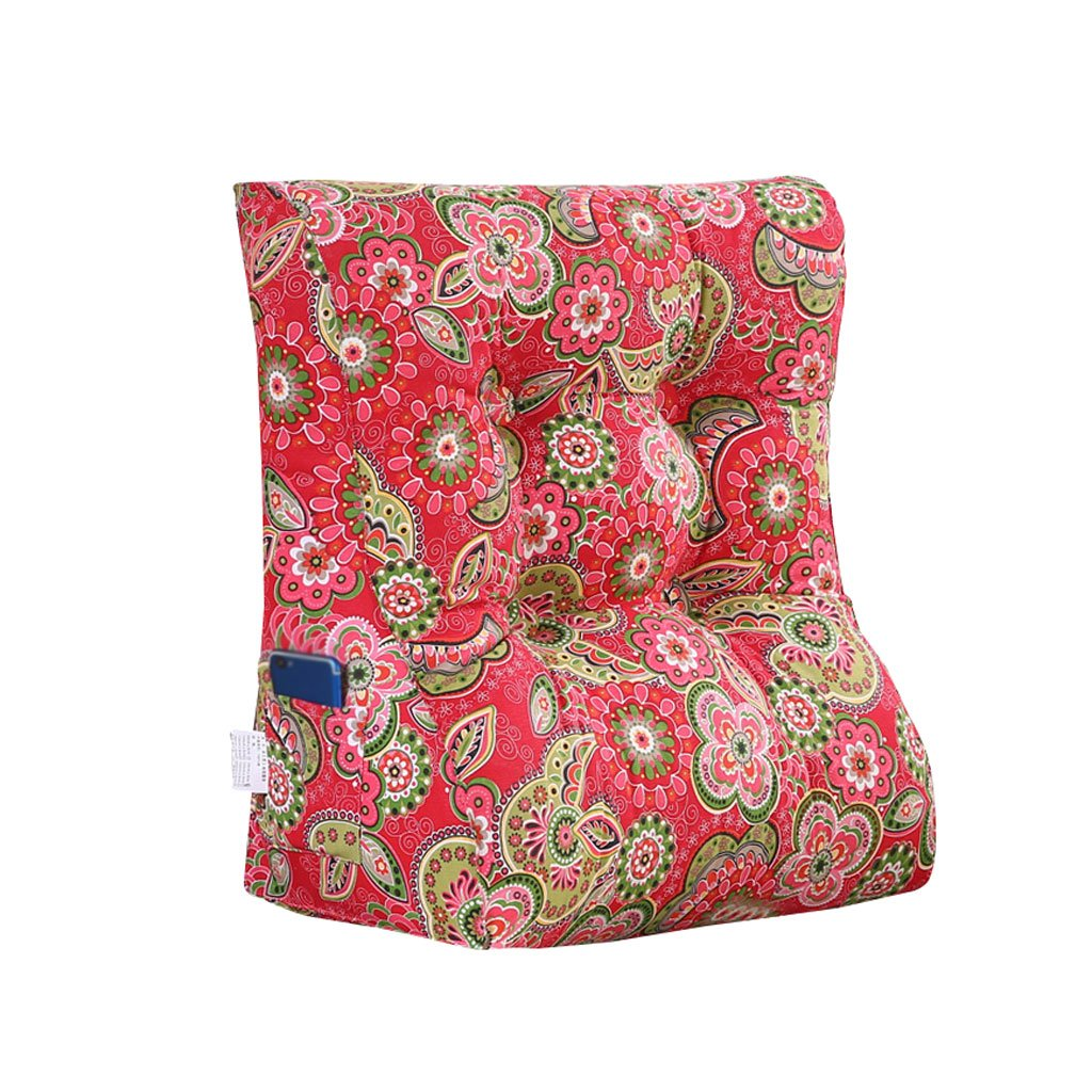 MS Pillow Washable Bedside Bed Triangle Cushion PP Cotton Pillow Backrest Lumbar Pillow Protection Waist Neck Guard Sofa Back Red Pattern Multiple by MS