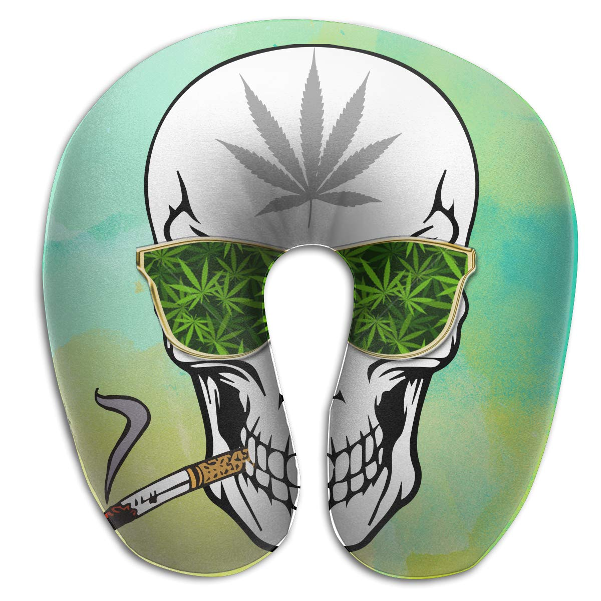 Wodehous Adonis Comfort Weed Cannabis Smoking Skull Memory Foam Neck Pillows Neck-Supportive Travel Pillow