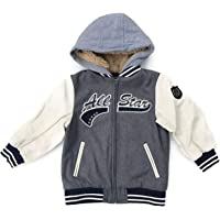 London Fog Boys' Sports Jacket, Leather Like Sleeves, Faux Fur Hood