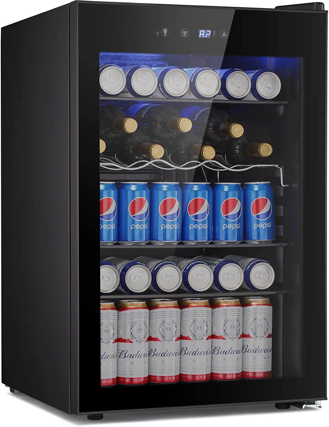BOSSIN Beverage Refrigerator and Cooler, 145 Can Capacity with Smoky Gray Glass Door for Soda Beer or Wine,Compressor Touch Panel Digital Temperature Display for Home, Office, Bar(4.5 cu.ft)