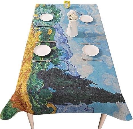 ZHUOBU Manteles Arte Pintura Al Óleo Paño Algodón Rectángulo Té Tabla Paño Engrosamiento Mesa de Comedor: Amazon.es: Deportes y aire libre