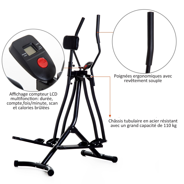Bicicleta elíptica vertical con soporte para abdomen, andador ...