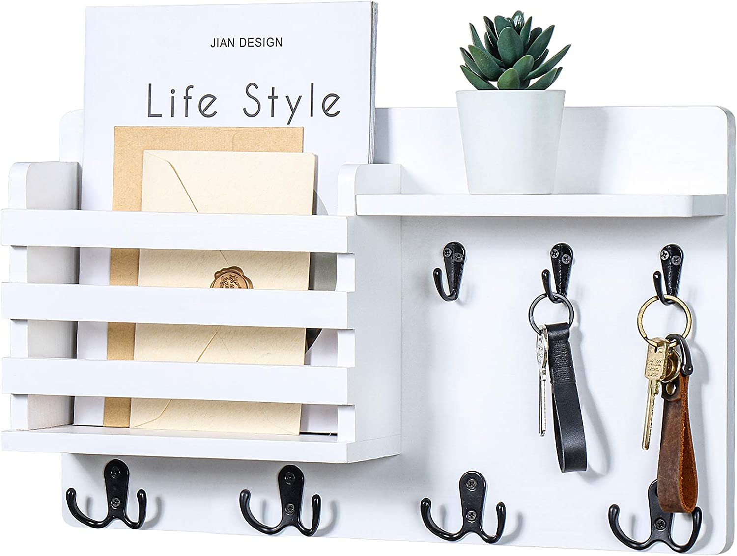 """Mail Holder for Wall – Mail Organizer with Key Hooks for Hallway Kitchen Farmhouse Decor – Letter Sorter Made of Natural Pine with Floating Shelf and Flush Mount Hardware (16.8"""" x 10"""" x 3.2"""")"""