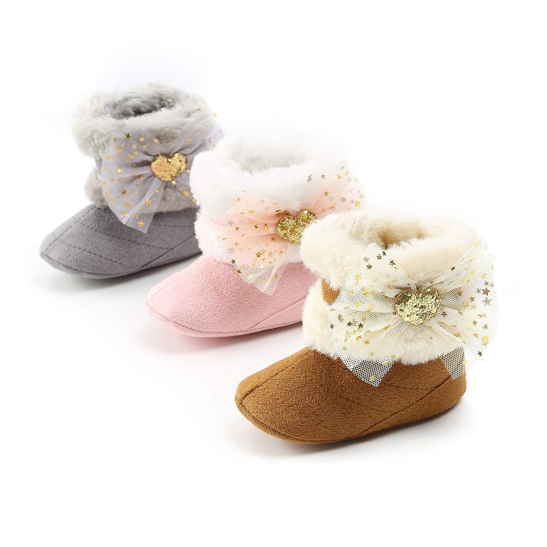 Morbuy Zapatos de Primeros Pasos Bebe Invierno Color Sólido Tela de algodón Blanda Antideslizante Zapatos Lindo Arco Botas de Nieve: Amazon.es: Ropa y ...