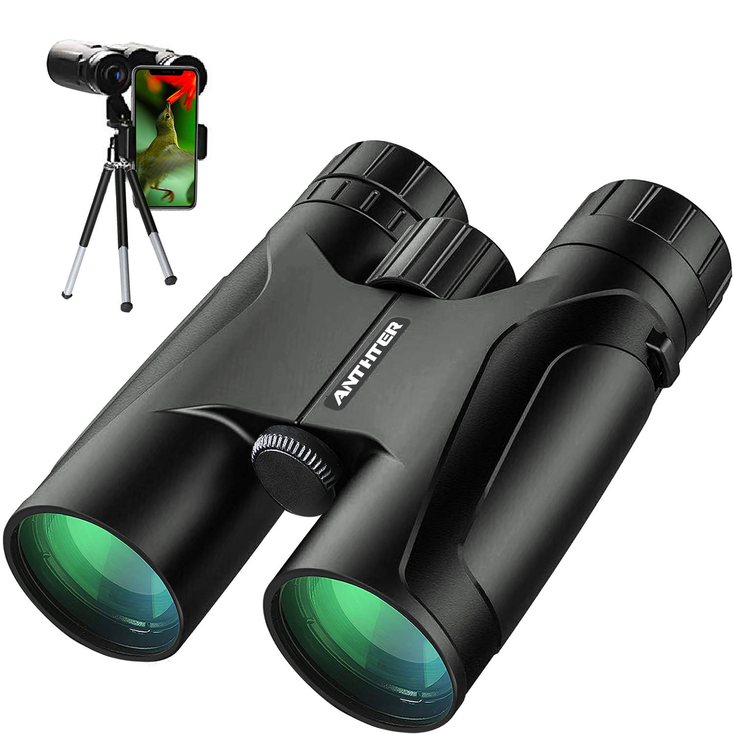 12X50 Powerful Binoculars, High Power HD Binocular for Adults with Smartphone Holder & Tripod, Waterproof Binoculars with Durable and Clear FMC BAK4 Prism Binoculars for Bird Watching, Camping, Hiking by Anthter