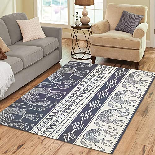 Indian Graphic Animal Elephant Large Custom Non-Slip Modern Floor Area Rug Pad Mat Oriental Commercial Carpet for Basement Bedroom Living Room Kitchen Home Decor 5 X 7 Indoor
