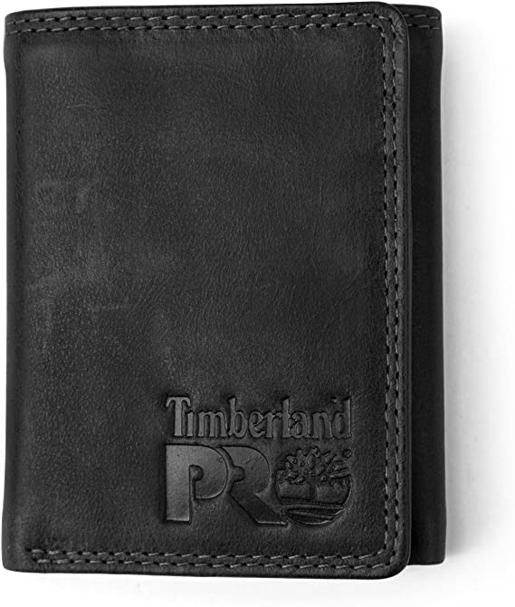 Timberland PRO Men's Leather RFID Trifold Wallet with Id Window