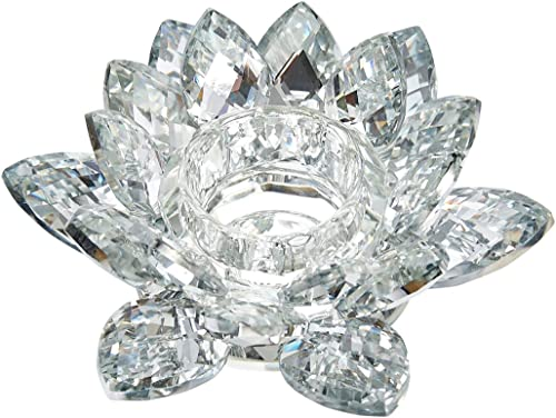 Benzara Clear Crystal Lotus Flower Candle Holder