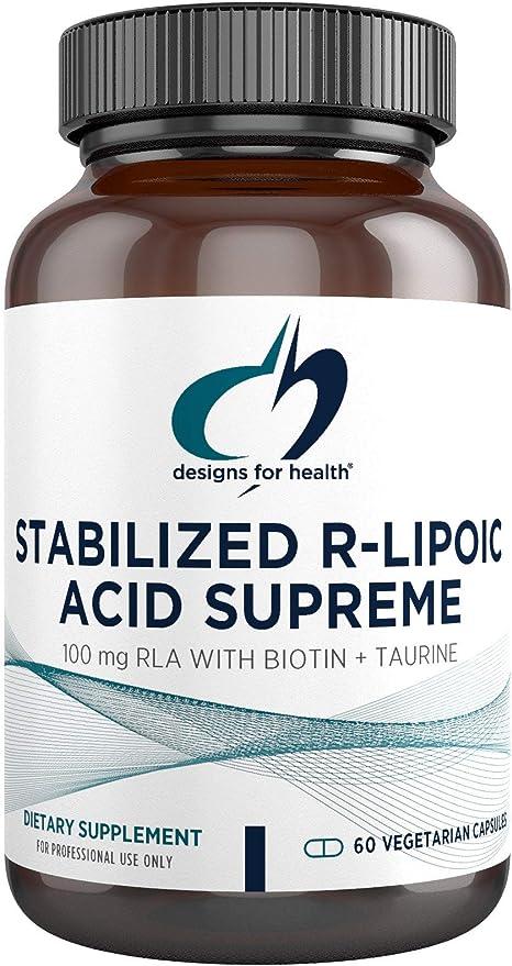 Designs for Health Stabilized R-Lipoic Acid Supreme - 100mg RLA Supplement with Biotin + Taurine - Non-GMO, Gluten Free (60 Capsules)
