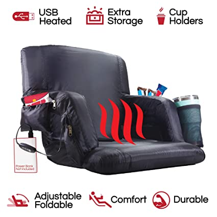 The Hot Seat Heated Stadium Bleacher Seat Reclining Back And Arm Support Thick Cushion 4 Storage Pockets Plus Cup Holder Extra Wide Feature