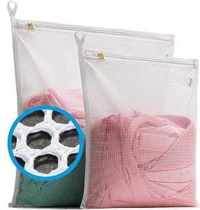 TENRAI Delicates Laundry Bags, Bra Fine Mesh Wash Bag for Underwear, Lingerie, Bra, Pantyhose, Socks, Use YKK Zipper, Have Hanger Loops (White,Big Mesh, 1 Large & 1 Medium)