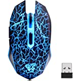 TENMOS M2 Wireless Gaming Mouse, Silent Rechargeable Optical USB Computer Mice Wireless with 7 Color LED Light, Ergonomic Des