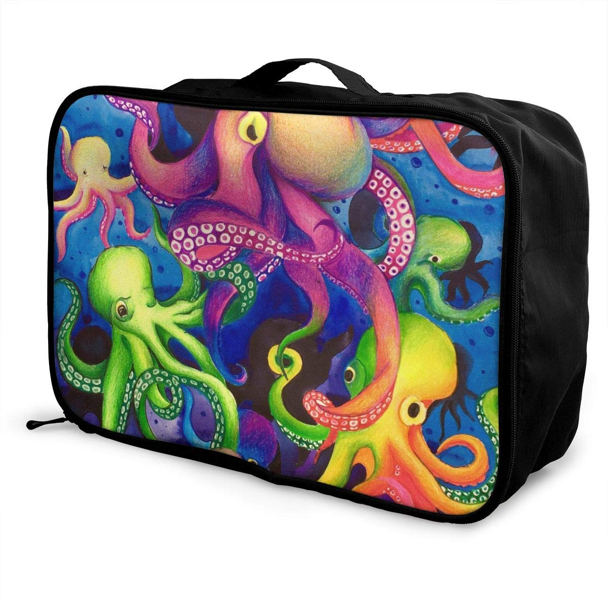 Hd8yehao Colorful Octopuses Travel Duffel Bag Lightweight Waterproof Large Capacity Portable Luggage Bag