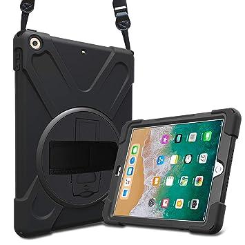 ProCase Bumper iPad 9.7 2018 2017, Carcasa Rugosa con Soporte Rotativo Asa de Mano Correa de Hombro, Funda Robusta Antichoque para iPad 9.7 6.ª 5.ª ...