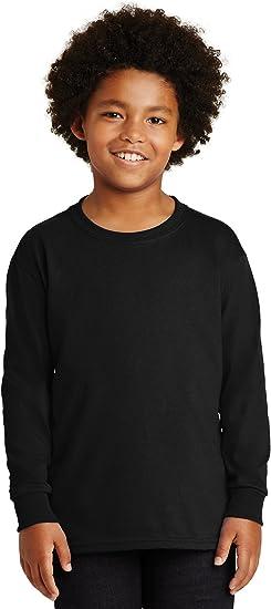 G240B Gildan Youth Long Sleeve Crewneck 100/% Cotton Double Needle T-Shirt