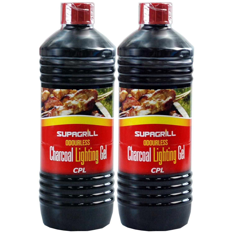 (2 Pack) 2 X Supagrill BBQ Lighter GEL Barbecue Lighting Odourless GEL Fuel 2 x 1 Litre Bottles SAFER THAN CONVENTIONAL FLUIDS