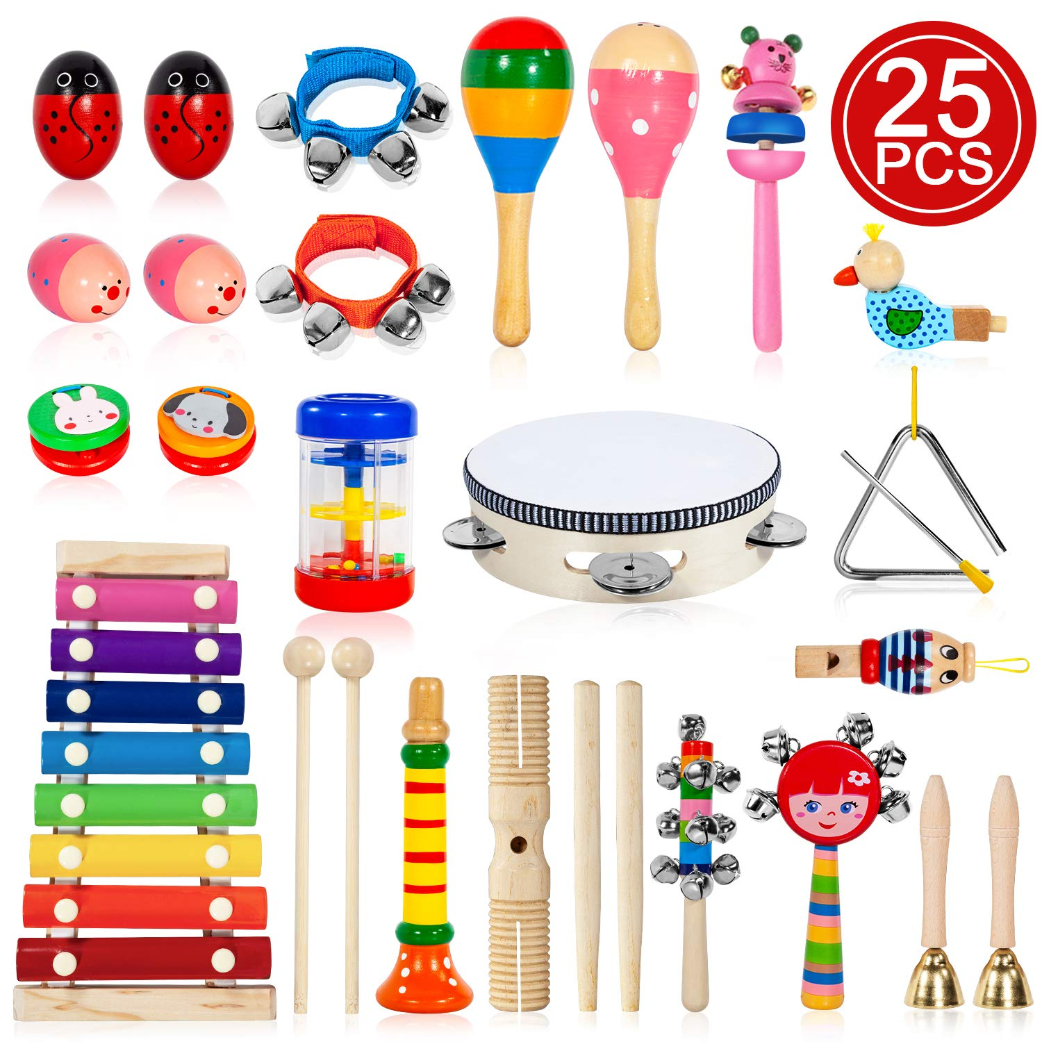 TAIMASI Kids Musical Instruments, 25PCS 18 Types Wooden Percussion Instruments Tambourine Xylophone Toys for Kids Children, Preschool Education Early Learning Musical Toy for Boys and Girls by TAIMASI