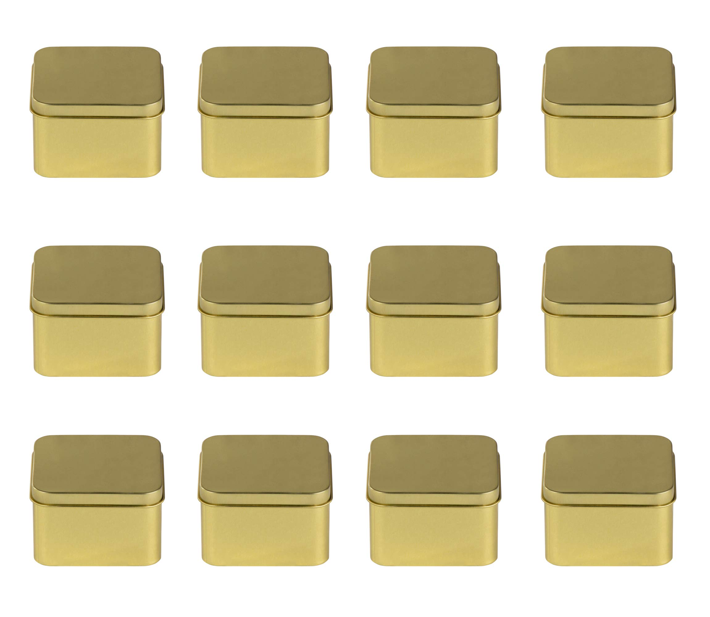Juvale Square Tin Can with Lid - 12-Pack 6-Ounce Empty Cube Steel Box Storage Container for Treats, Gifts, Favors and Crafts, Gold, 2.5 x 1.75 x 2.5 Inches