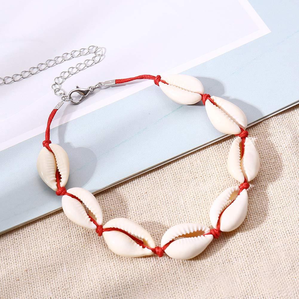 RENNICOCO Natural cauris Perles Shell Bracelet de Cheville /à la Main Beach Bijoux Style hawa/ïen r/églable pour Les Femmes
