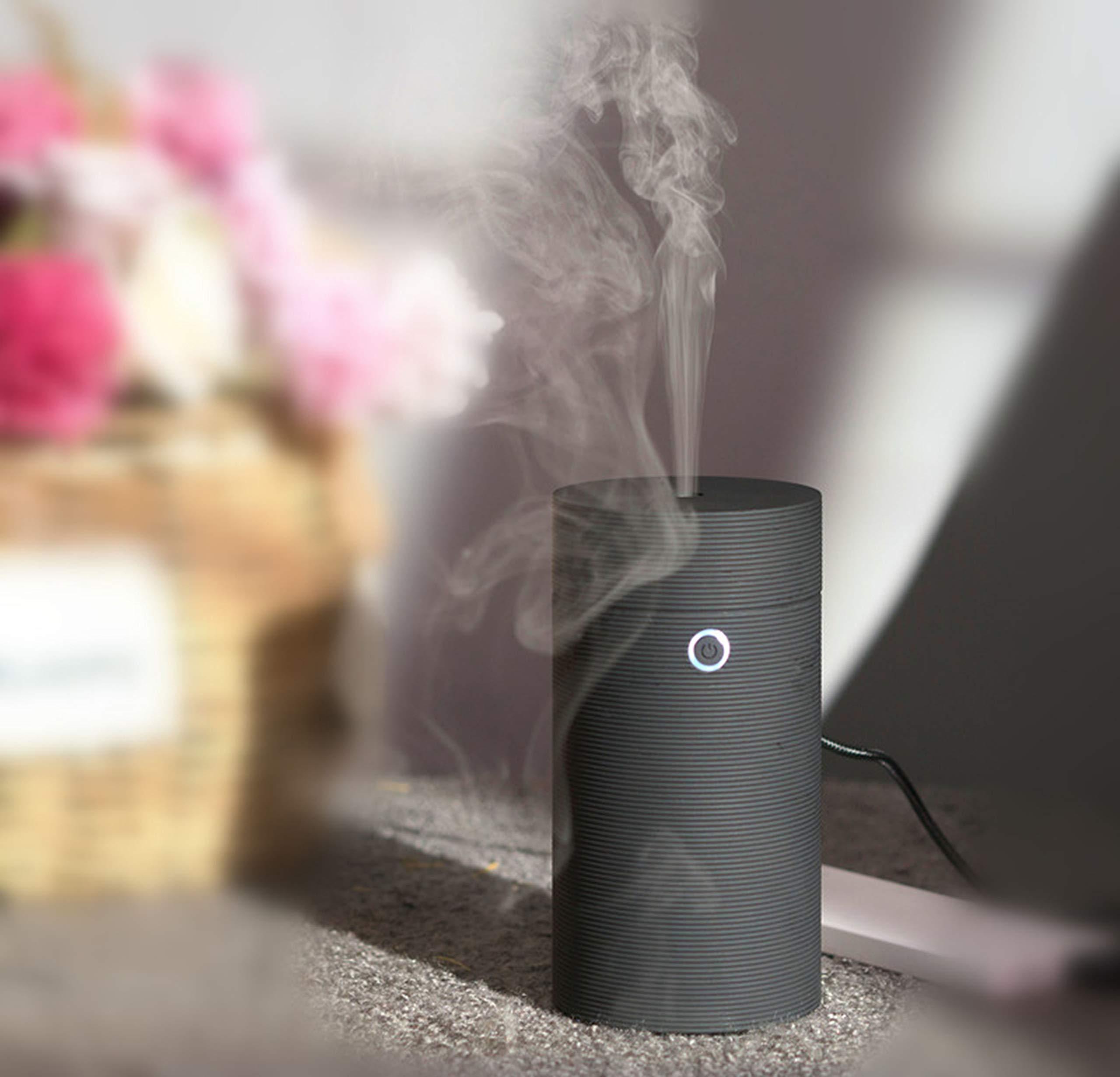 Aomy Mini Ultrasonic Essential Oil Diffuser Air Refresher Cool Mist Car Humidifier Auto Shut-Off for Car Office Bedroom Bathroom (Screw Thread Black)