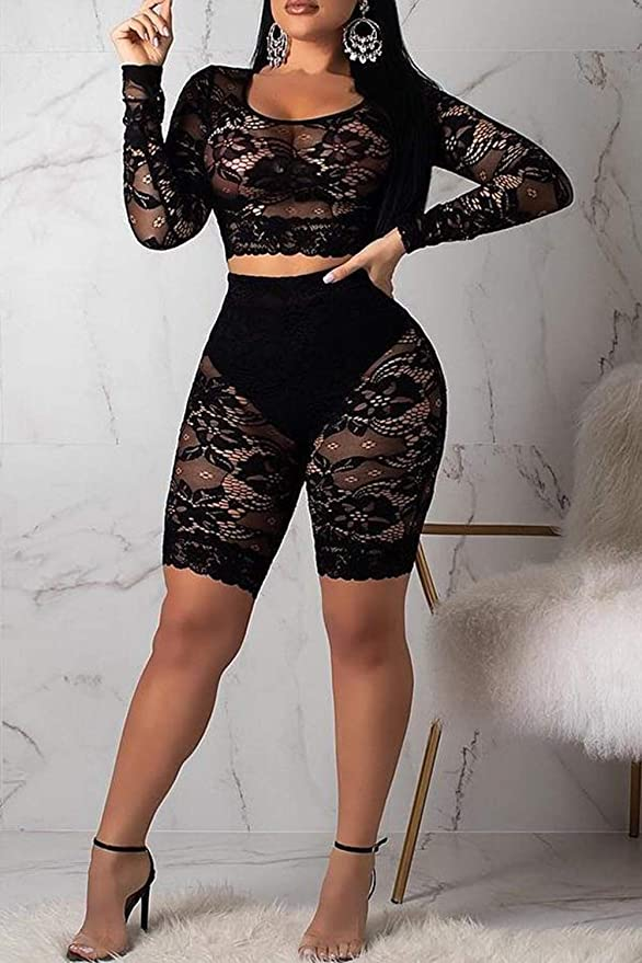 731880a6b6f Amazon.com: Women See Through Off Shoulder Long Sleeve Fishnet Crop Tops  Bodycon Shorts Party Clubwear Tracksuit 2pcs Outfit Set: Clothing