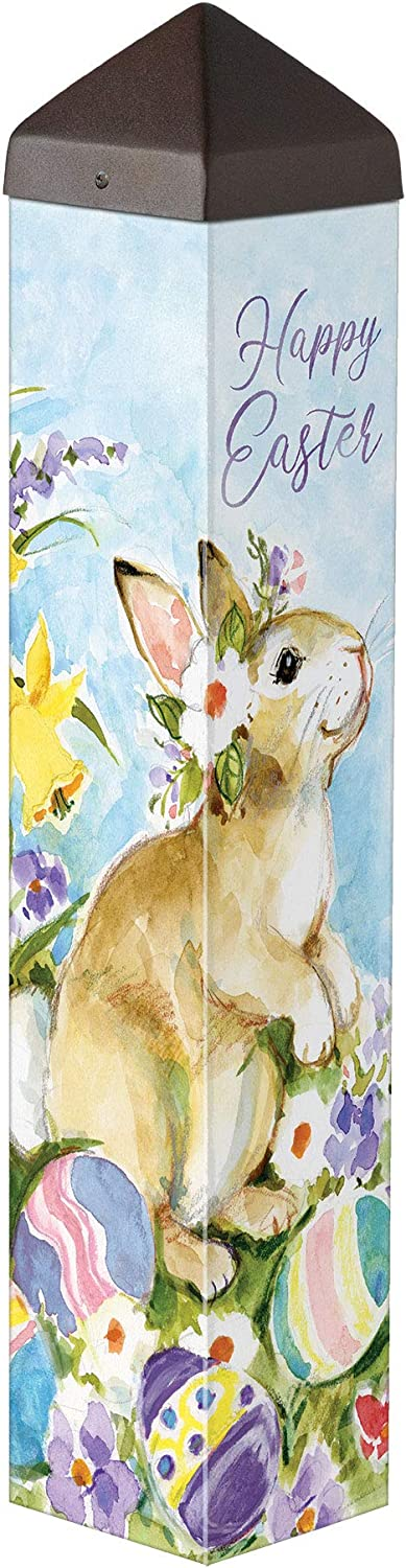 Studio M Easter Visit Art Pole Outdoor Decorative Garden Post, Made in USA, 20 Inches Tall