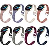 Surundo 8 Pack Thin Slim Bands Compatible with Fitbit Versa 3 / Fitbit Sense Smartwatch, Replacement Sport Thin Narrow Wristb